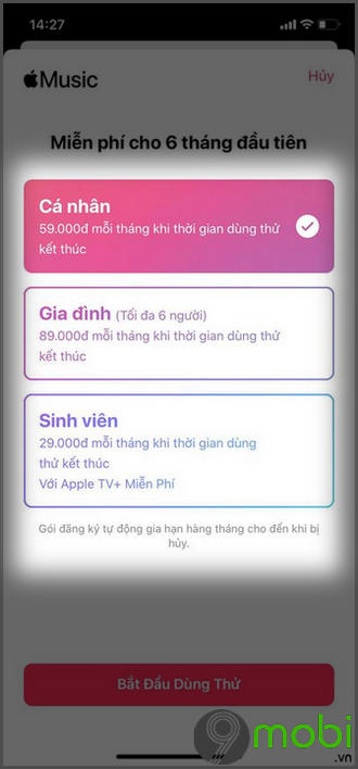 cach dang ky apple music tren iphone goi gia dinh