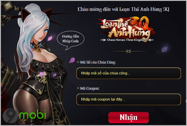 cach nhap giftcode game loan the anh hung 3q