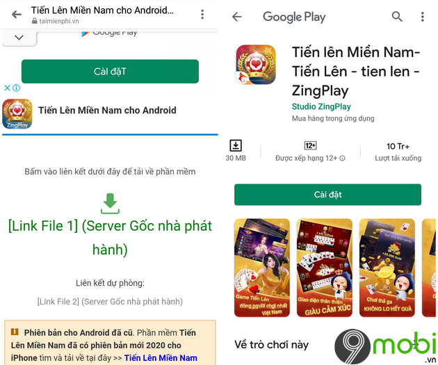 cac cach choi tien len mien nam tren android