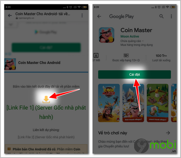 cach tai coin master tren android