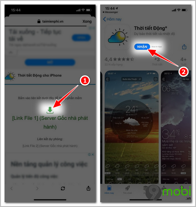 cach cai dat app thoi tiet dong tren iphone
