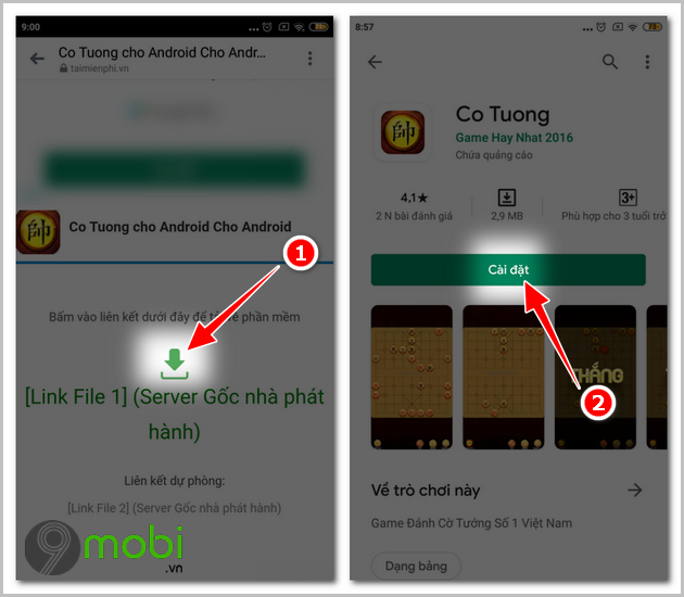 cach danh co tuong voi may tren dien thoai android