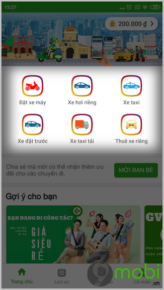 cach goi xe taixi tai bang ung dung gv taxi