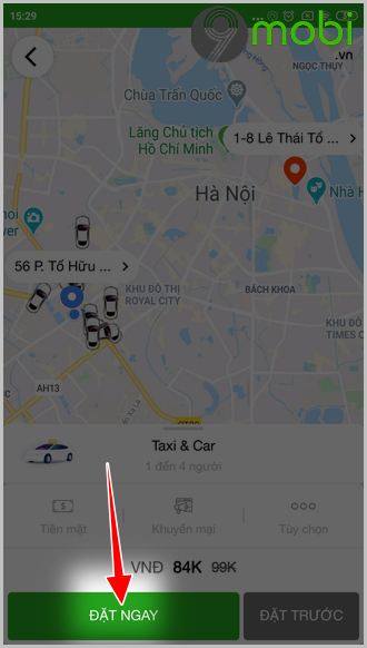 cach dat xe bang ung dung gv taxi 10
