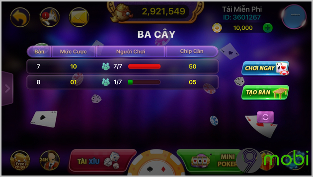 cach choi 3 cay tren android