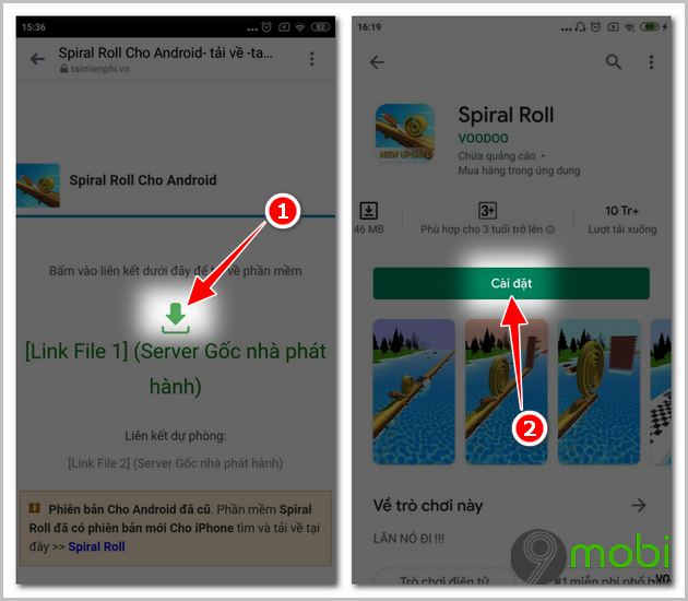 cach cai dat va choi game spiral roll tren android