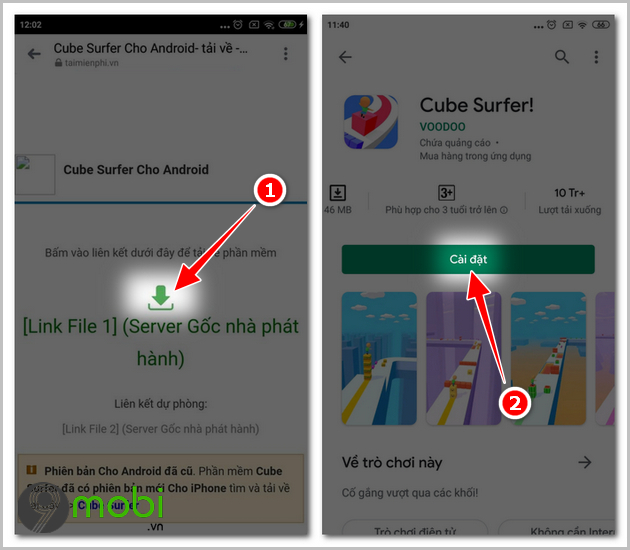 cach cai dat cube surfer tren android ios