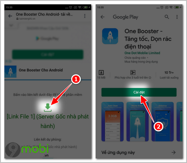 one booster don rac dien thoai android
