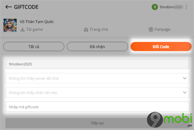 cach nhap code game vo than tam quoc