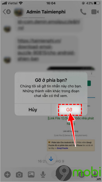 xoa tin nhan facebook messenger tren iphone x