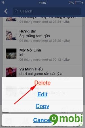 xoá bình luận facebook trên Android