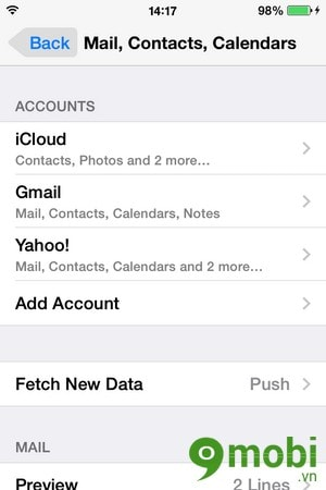 xoa danh ba email tren iPhone
