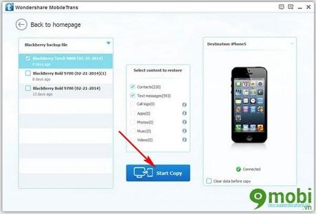 sao chep danh ba tu Blackberry sang iOS