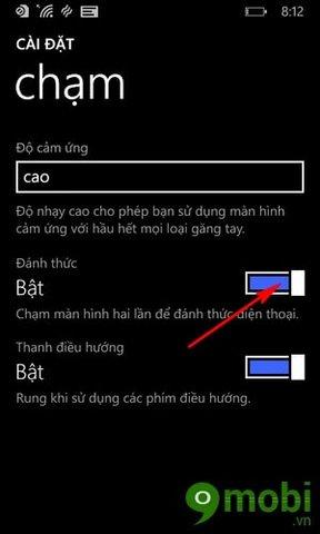 danh thuc lumia bang cach cham vao man hinh