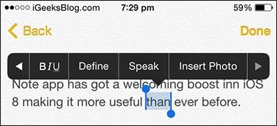 dinh dang text trong ghi chu tren iPhone