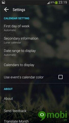 xem lịch âm trên màn hình Home Android