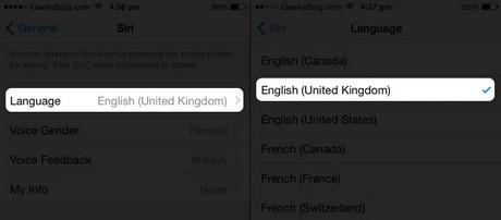 thay đổi giọng nam nữ cho Siri