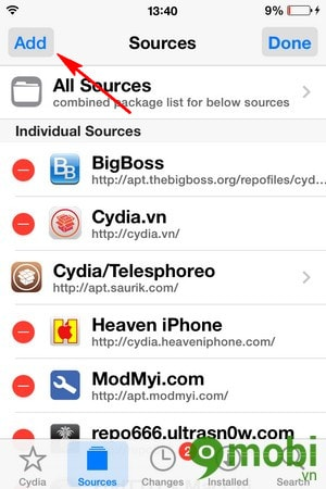 them dia chi Sources trong Cydia