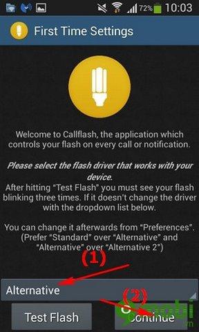 cai dat den flash bao cuoc goi cho Android