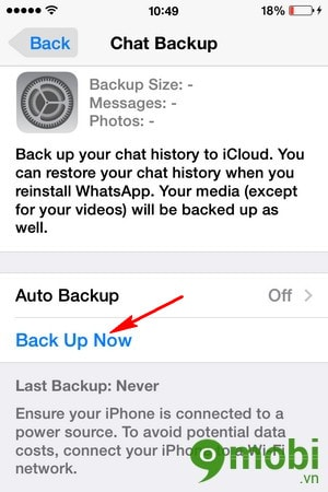 sao luu du lieu WhatsApp tren iPhone