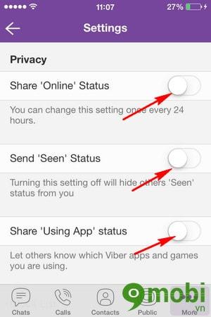 Ẩn trạng thái trực tuyến và đã xem nội dung trò chuyện trong Viber trê