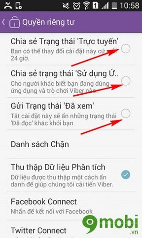Tip hide online status and the content viewed Viber chat on
