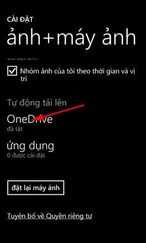 dong bo anh len OneDrive bang Lumia