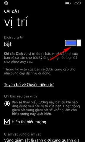 bat dinh vi tren Windows Phone