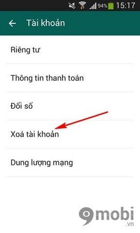 xoa vinh vien tai khoan Whatsapp Messenger