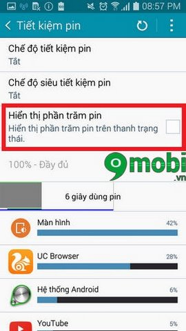 bat % pin tren galaxy a5