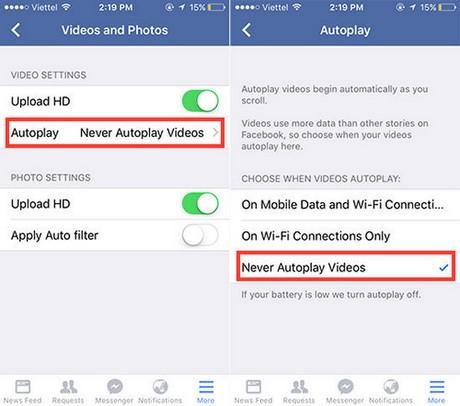 tat video tu phat tren facebook cho iphone