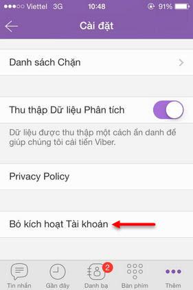 huong dan xoa tai khoan viber tren iphone