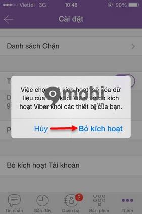 lam the nao de xoa tai khoan viber tren iphone