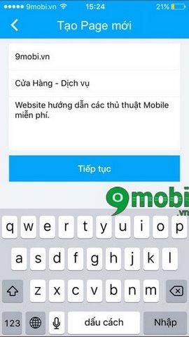 lap zalo page tren iphone