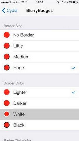 tweak blurrybadges cho iphone