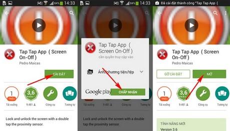 mo khoa man hinh bang cach cham vao 2 lan tren Android