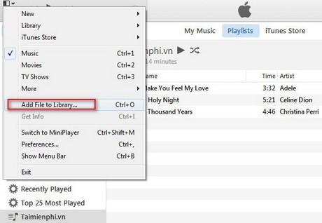 Cách copy, sao chép nhạc vào iPhone bằng Itunes 12
