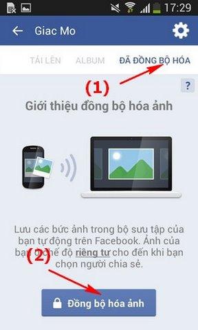 dong bo anh tu dong len Facebook