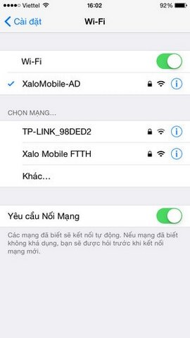 mở wifi tren iphone