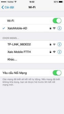 mở wifi tren iphone