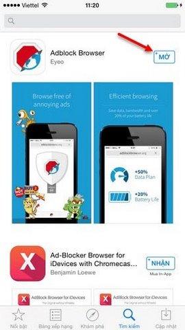 Huong dan cài Adblock Browser tren iPhone