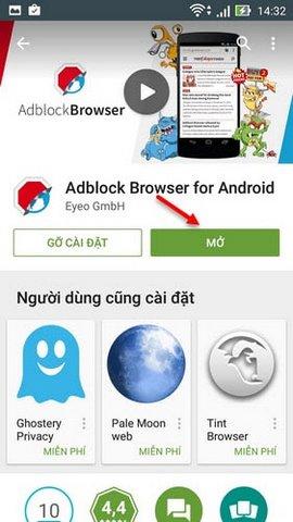 Cài đặt trình duyệt Adblock trên Zenfone
