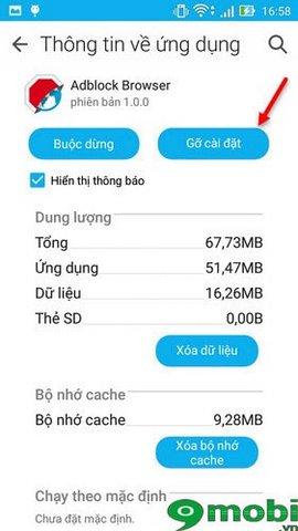 xóa trình duyệt Adblock khỏi Zenfone