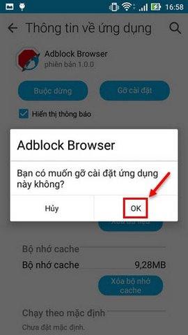 gỡ trình duyệt Adblock trên Zenfone