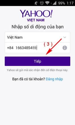 dang ky yahoo tren iphone