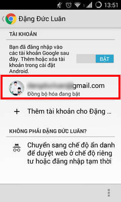 dong bo chrome android
