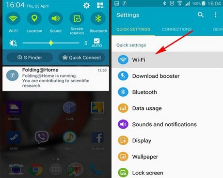 phat wifi tren Samsung