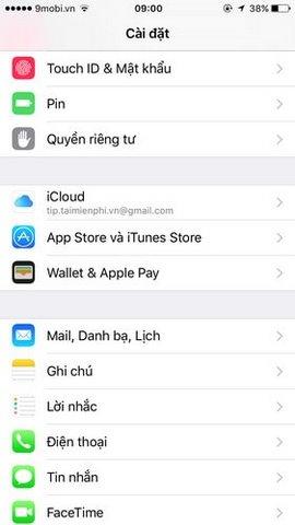 dang ky icloud tren iphone