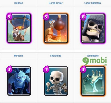 danh sach arena trong clash royale