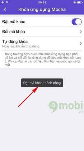 Cách khóa Mocha trên điện thoại, khóa bảo mật Mocha